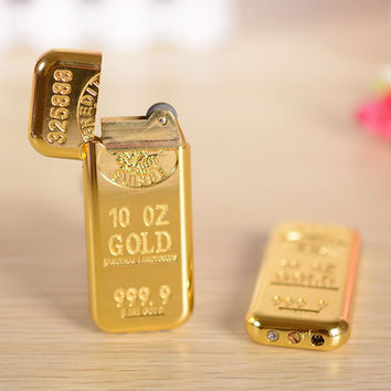 Grinding Wheel Flame Lighter Creative personality ultra - thin gold gold brick portable man models [9563796682]