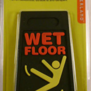 Lot of 2 Black Wet Floor Doorstop Rubber AntiSlip Hazard Danger Sign