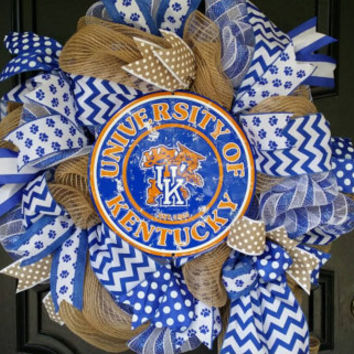 Kentucky Wildcats Blig Blue Nation Kentucky Basketball Kentucky Wreath Wildcats Go Big Blue UK Wreath Burlap Mesh Wreath Kentucky Wildcats