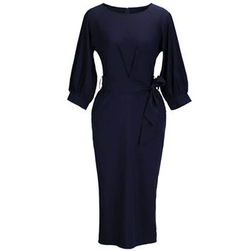 2018 Women's Fashion Lantern Sleeve O-Neck Pencil Dress Elegant Office Lady Belt Solid Color Navy Blue Dress Vestidos