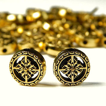 10 Pcs - 12x5.5mm Gold Tone Spacer Beads - Disc Spacer - Metal Spacer Beads - Jewelry Supplies