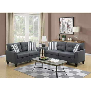 Glossy Polyfiber 2 Piece Sofa Set In Charcoal Gray