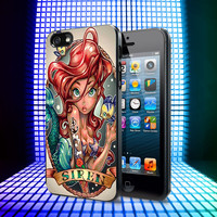 Ariel Little Mermaid Tattoo iPhone 4, 4S, 5, 5C, 5S Samsung Galaxy S2, S3, S4 Case