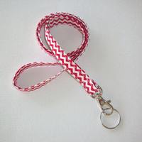 Lanyard  ID Badge Holder - NEW THINNER design - Red and white chevron zigzag zig zag  - Lobster clasp and key ring