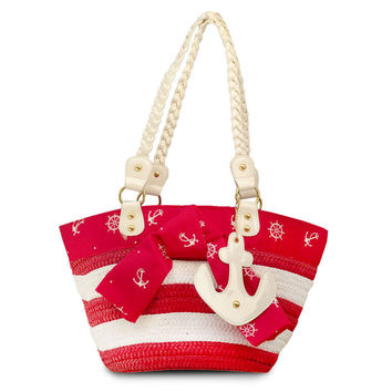 Voodoo Vixen Red Anchors Away Wicker Tote