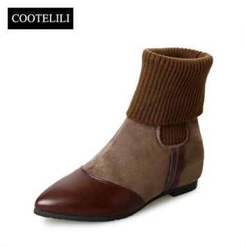 COOTELILI Botas Women Ankle Boots Flat Heels Casual Shoes Woman Faux Suede Leather Chelsea Boots Pointed Toe Slip on Mujer 35-39