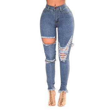 New Trend Style Hole Ripped Jeans Women Stretch Denim Pencil Pants Ladies Casual Skinny High Waist Stretch Slim Pencil Trousers