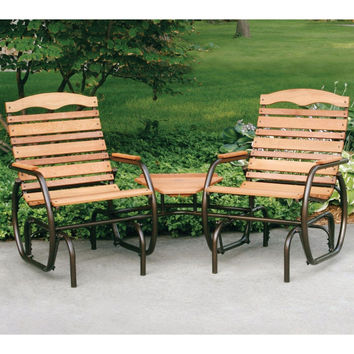 2-Seat Outdoor Glider Comfortable Patio Chairs with Center Table