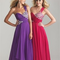 One Shoulder Ruched Empire Waist Beaded Chiffon Prom Dress PD2085