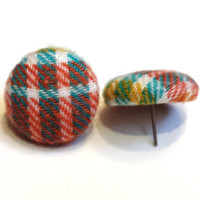 Citrus Plaid Fabric Covered Button Earrings Womens Plaid Fashion Fabric Studs Girls Studs Plaid Stocking Stuffer Earrings Gift for Her