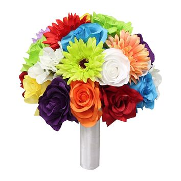 "10""Colorful Bouquet - Daisy and Rose Sunflower Themed Wedding Bouquet"