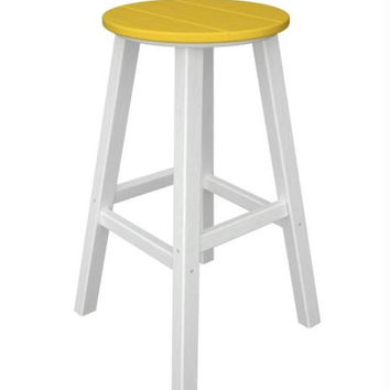 2 Bar Stools - Yellow With White Legs