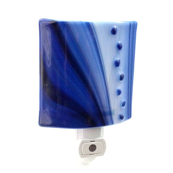 Blue Night Light with Swirls & Dots Stained Glass - Home Decor - Accent Lighting