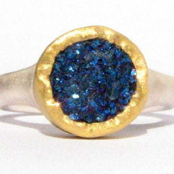 Blue Druzy Quartz Ring - 24k Solid Gold and Silver Ring - Gemstone Ring - MADE TO ORDER in your size.