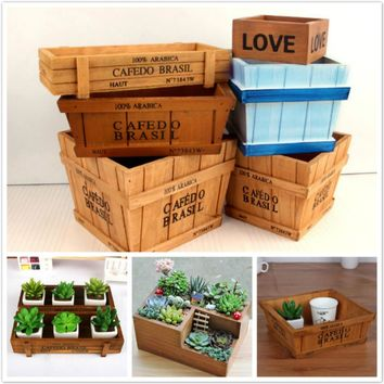 Wooden Box Succulent Flower Bed Garden Planter