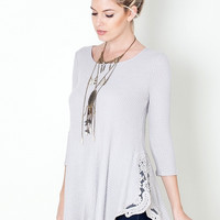Back Roads Lace Rib Knit Top