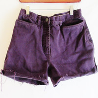 Vintage 1990's High Waisted Purple Denim Cutoffs