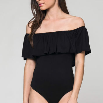 Ava Off The Shoulder Bodysuit - Black