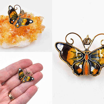 Vintage David-Andersen Sterling Silver Butterfly Pendant, Norway, Multicolor, Guilloche Enamel, Figural, Insect, Enchanting! #c569