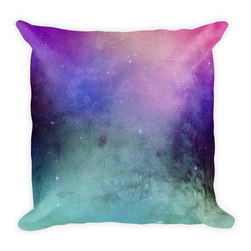 Galaxy Space Blue Black Green Purple Decorative Throw Pillow 18x18