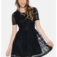 Black Candy Crush Short Sleeve Lace Party Dress | $10.00 | Cheap Trendy Little Black Dresses Chic D