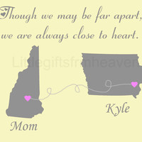 SALE Close to Heart Mom Print- grandma mothers day, mom daughter map, long distance mom, personalized map, gift for dad, parents custom gift