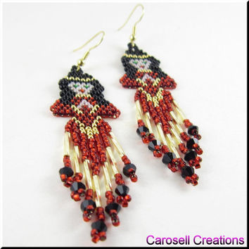 Red Indian Princess Native American Seed Beaded Earrings Dangle Beadwork