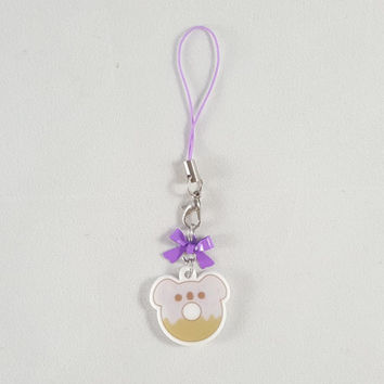Koala, donut, food, dessert, phone charm, cute, kawaii, anime, zipper charm, keychain, acrylic charm, purple