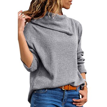 Gray Asymmetric Cowl Neck Ribbed Knit Top