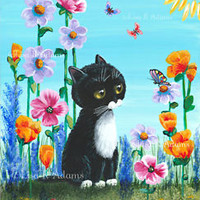 Whimsical Black Tuxedo Cat Butterfly Orig Painting 8x10 Wall Art Creationarts