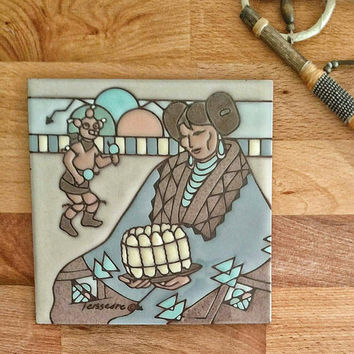 Vintage Tile / Native American / Southwestern / Boho decor / Earth tones / Cleo Teissesre / 1980s / Kachina dancer / Hopi woman / goddess