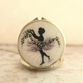 Antique Guilloche Enamel Locket, Dancing Nymph Locket, Art Nouveau Locket, Sterling Silver Locket, Figural Locket, Dancing Lady Locket 1900s