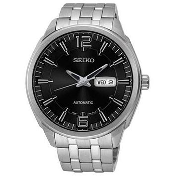 Seiko Mens Recraft Automatic Watch - Black Dial - Stainless Steel Case - 50M