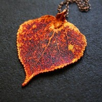 Long Copper Dipped Aspen Leaf Pendant Long Necklace by FreshyFig