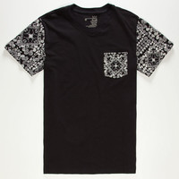 Blue Crown Bandana Pocket Tee Black  In Sizes