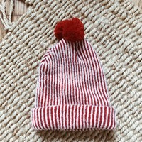 Vintage Ribbed Pom Infant Beanie