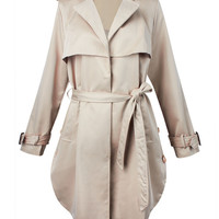 Casual Long Sleeve Trench Lapel Turn Down Collar Windbreaker Coat