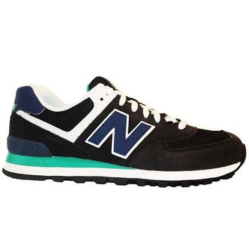 new balance 574 core plus black blue suede running sneaker