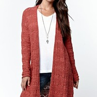 LA Hearts Drop Shoulder Duster Cardigan - Womens Sweater - Marsala
