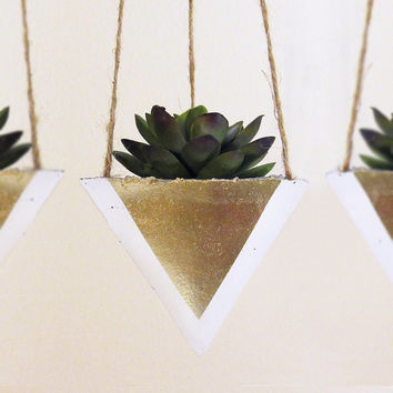 Succulent Planter, Hanging Planter, Concrete Planter, Air Planter, Air Plant Holder, Modern Planter, Succulent Pot, Gold Planter - Set of 3