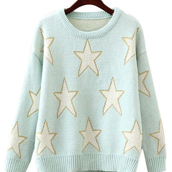 Pastel Blue Stars Print Knit Sweater