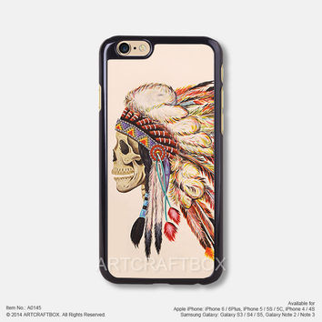 Tattoo indians Feather skull Free Shipping iPhone 6 6 Plus case iPhone 5s case iPhone 5C case 145