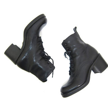 Black Leather CHUNKY Boots Lace Up Ankle Boots Pippi 90s Fall Grunge Booties Hipster Square Toe Boots Preppy Witchy Vintage Womens 7 7.5