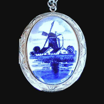 Windmill Locket Necklace In Silver Tone, Delft Style, Printed on Ceramic Porcelain