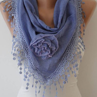 Autumn Scarf - Purple Scarf with Roses - Cotton Scarf with Trim Edge - Big Triangular