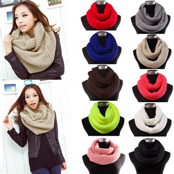 2016 New Women Winter Warm Infinity Circle Cable Knit Cowl Neck Scarf Shawl For men women Grile