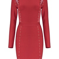 Honey Couture CATERINA Red Mesh Insert Long Sleeve Mini Bandage Dress