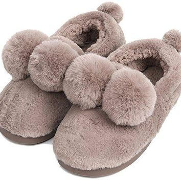 UIESUN Unisex Cute Ball House Slippers Winter Soft Plush Bedroom Indoor Slipper Shoes for Lovers