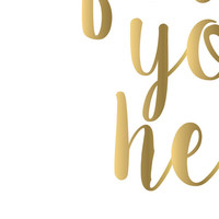 Follow Your Heart Printable Art Faux Gold Foil Art Gold Arrow Art Modern Nursery Art Modern Kids Wall Art Gold Teen Bedroom Decor