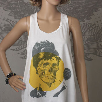 Audrey Hepburn Skull Tank Top, White Razorback Women, Zombie, Breakfast At Tiffany's, Holly Golightly Quote, Hollywood Icon, Classic, Movies